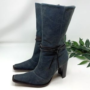 Dolce Vita Blue Denim Jean Western Mid Calf Boot 7